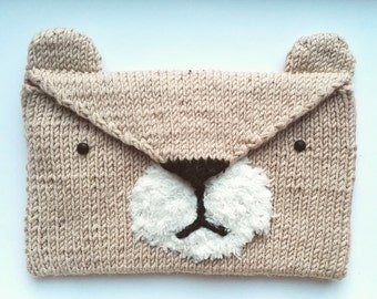 Hand Knitted Bear Envelope Purse