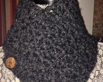 Crochet Neck Warmer - Charcoal