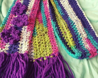 Girly Colorful Flower Crochet Scarf