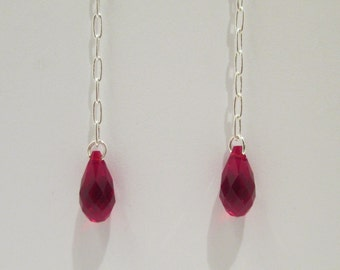 Red Teardrop women's earrings - Handmade - Swarovski - Guilty Pleasure Earrings