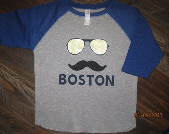 Custom Mustache and mirrored Aviators for little boy