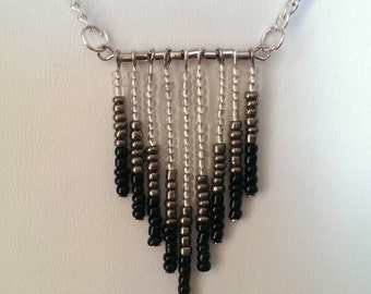 Beaded Chevron Necklace in Black and Silver