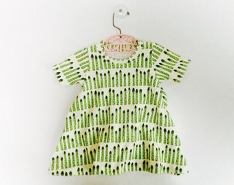 baby dress. organic baby dress in asparagus print,  toddler dress, organic toddler dress, baby gift, organic baby