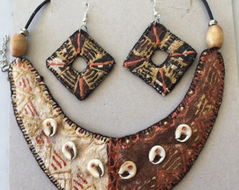 Fun Coconut Fibre Necklace and Earring Set from Fiji