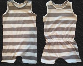 Grey & White stripe Romper