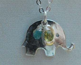 Sterling silver elephant pendant with gemstones necklace
