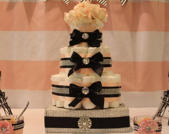 Glam Diaper Cake Baby Shower Centerpiece Baby shower Gift