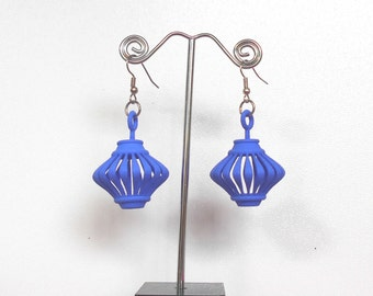 Twirlagog -- Blue 3D Printed Earrings (they spin!)