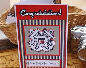 Coast Guard Card, Retirement, Promotion, Graduation, Military, Coast Guard, Semper Paratus, Congratulations, Congrats, Thank You, Service