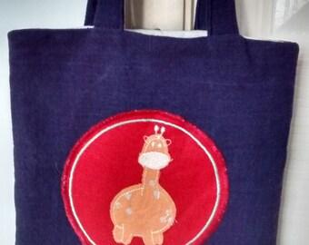 Child's / Boy's Blue Fabric Dinosaur Tote Bag