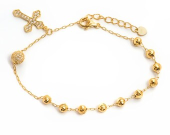 18k Gold Plated or RDM Plated Sterling Silver Beads with Cross Bracelet