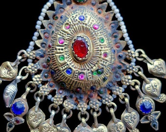 Vintage Kuchi Tribal Jewelry Mantikka Pendant Headpiece