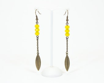 Earrings yellow and bronze