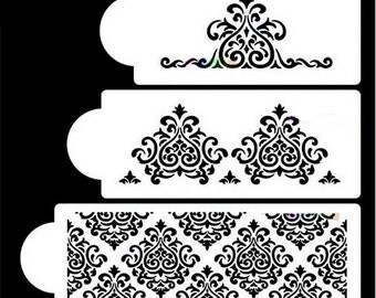 3 PC Filigree Demask Cake Stencil Set