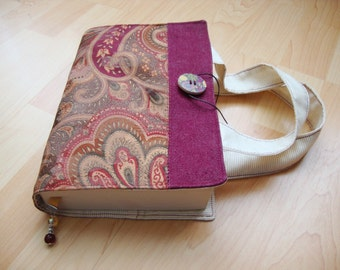 Fabric book cover with handles, upcycle fabric, gift idea,