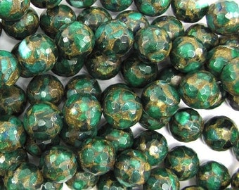 """14mm faceted emerald green golden pressed jade round 7.5"""" strand 14 pcs 30031"""