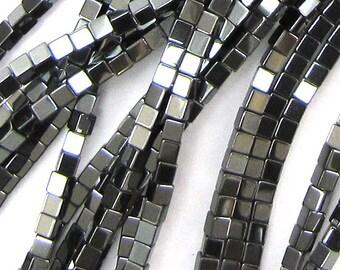 """2mm hematite cube beads 16"""" strand"""