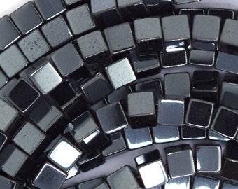 """4mm hematite cube beads 16"""" strand"""