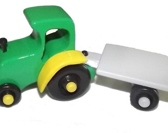 Wooden Toy Tractor and Trailer Available in Any Color