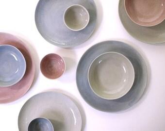 Stoneware Dinnerware Set in Violet, Rosy Pink, Grey. Stoneware Ceramic Plates Set, Soup Bowls. Handmade Pottery Set. Dinner Plates Set.