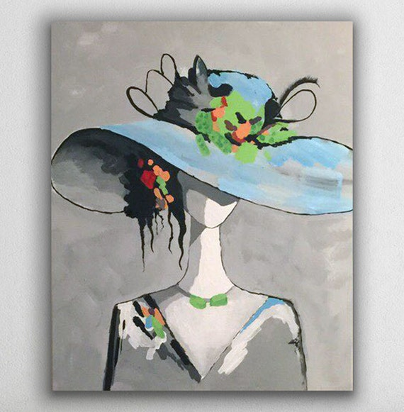 lady with a hat, a rectangular 20x24 inches acrylic painting on canvas