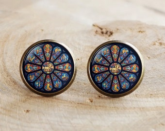Rose Window Stud Earrings, Gothic Cathedral, Gothic style Earrings, gothic rose window, gothic rose Earrings, Catholic, Christian Jewelry