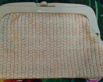 Vintage ladies cream woven clutch bag