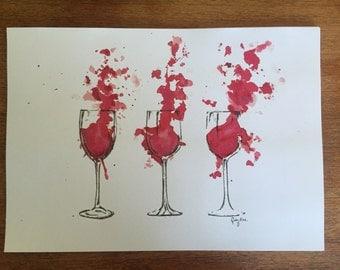 Wine Watercolour Print