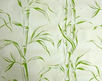 VINTAGE textured green and yellow bamboo Zen Asian garden wallpaper roll bathroom leaves