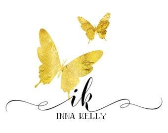 Custom Logo Design - Gold Logo - Premade Logo - Gold butterfly Logo - Photography Logo - Boutique Logo - Small Business Logo butterfly