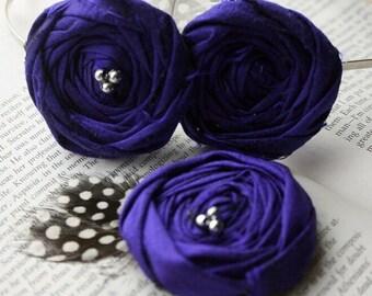 Flower Girl Gift Set Royal Blue BFF Teen or Adult - Rosette Headband & Flower Hair Clip - Royal Blue Silk Rosette Flowers with Fe
