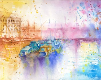 Bristol Art Print from Original Impressionist Watercolour Painting Boats Colorful Moder Wall art Watercolor Gift ideas
