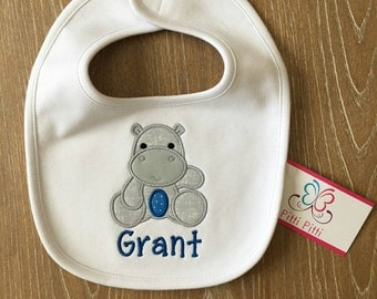 Baby Boy  Personalized Burp Cloth or Bib with Baby Hippo - Appliqued Baby Hippo Burp cloth or Bib