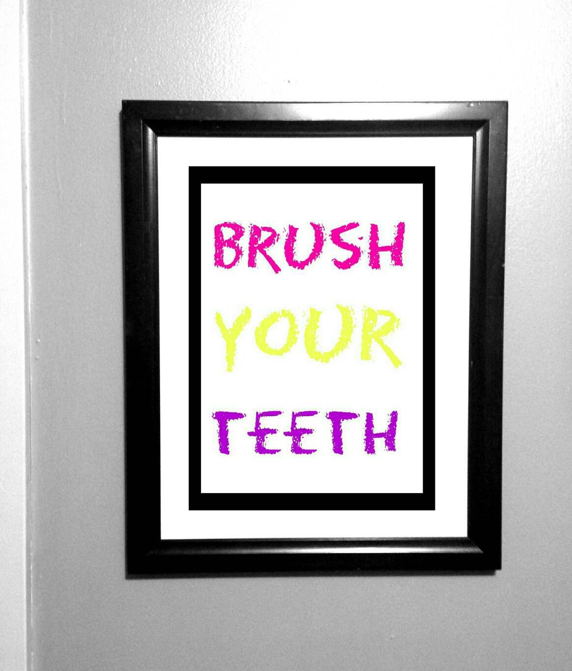 Brush your teeth girls bathroom decor kids by jennoradecor for Bathroom decor etsy