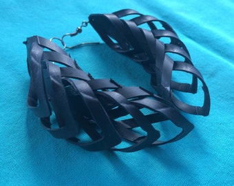 Bike tube earrings - up[cycled - recycled - feathered - recycled bike parts - vegan leather - eco friendly - - bike earrings