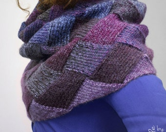 Hand-knitted entrelac multicolor shaded cowl/ neck warmer/ snood/ capelet (dark blue, violet, grape, purple, burgundy, eggplant, charcoal)