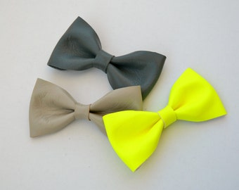 Fluo yellow leather bow / Leather hair bow / Hair accessories for children / Fluo yellow leather bow