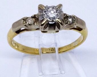 Vintage Art Deco Diamond Trilogy Ring   Circa 1930s   Size I1/2 (UK) 4.5 (US)   Free Sizing / Shipping