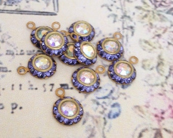 5 vintage violet lavender tanzanite swarovski austrian AB crystals in brass setting 8mm crystal no.rl509tz-2