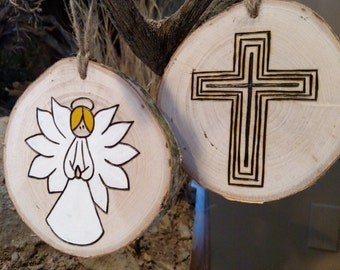 Wood Burned Ornaments / Gift Tags - Angel or Cross