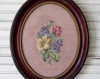 Vintage Framed Petit Point;Floral Petit Point Picture