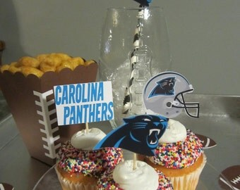 Cupcake toppers, party supplies, Carolina Panthers, football