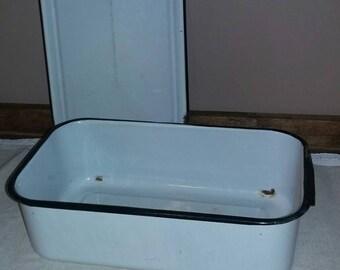 "Vintage enamelware refrigerator storage box...14""x8"""