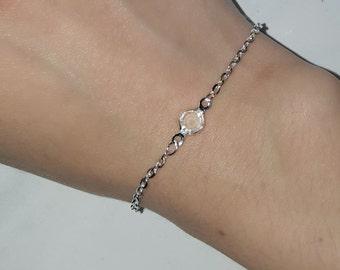 Handmade silver plated crystal drop bracelet, crystal drop bracelet, handmade silver chain bracelet, silver bracelets, handmade bracelet