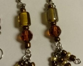Amber Dangle Tassel Earrings