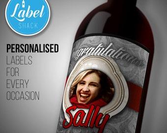 Congratulations personalised wine bottle PHOTO label-Ideal Celebration/Anniversary/Birthday/Wedding gift personalized bottle label