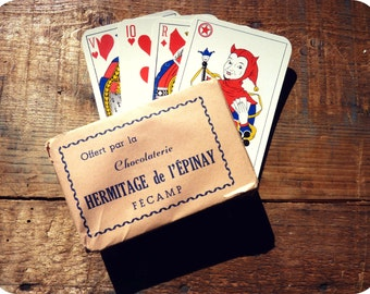 Advertising card - chocolate Hermitage d'Epinay Fécamp - french playing cards game