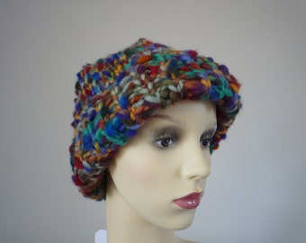Multicoloured hand knit hat, wool