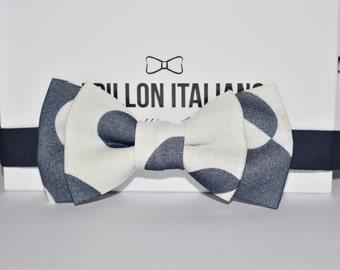 Papillon Italian blue/white polka dots-Handmade 100% Made in Italy-Bowtie