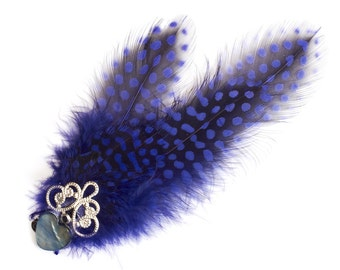 Hair clip Fascinator feather blue